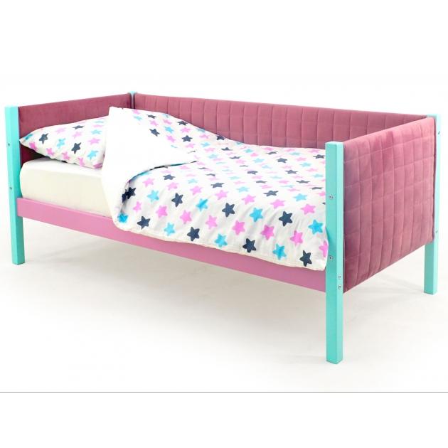 Детская кровать-тахта мягкая Бельмарко Svogen мятный-лаванда