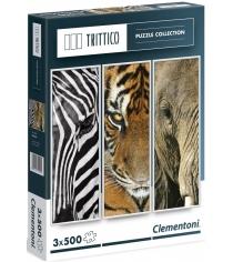 Пазл Clementoni Trittico Животные 3х500 элементов 39307