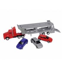 Трейлер Dickie красный с 4 машинками 3414759