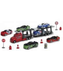 Игровой набор Dickie Трейлер с машинками и дорожные знаки 3745001...