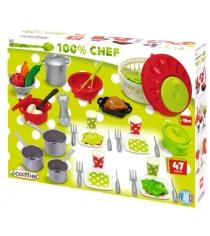 Игрушка для кухни Ecoiffier Набор посуды 100% Chef 2621...