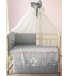 Комплект в кроватку 7 предметов Фея Веселая игра 0001011-3 серый