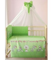 Комплект в кроватку 7 предметов Фея Веселая игра 0001011-3 зеленый