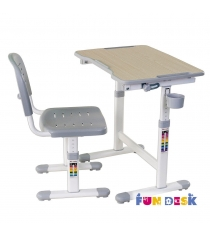 Парта для малышей и стул FunDesk Piccolino II белый серый