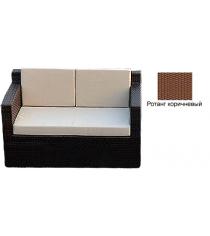 Диван двухместный с 3 подушками GARDA-1007 R коричневый