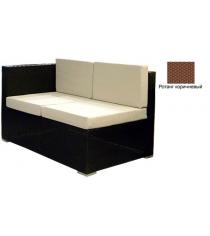 Угловой двухместный модуль с 4 подушками GARDA-1007 R коричневый