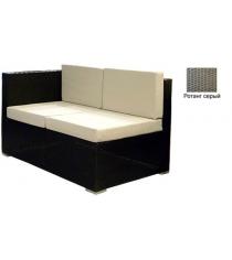 Угловой двухместный модуль с 4 подушками GARDA-1007 R серый