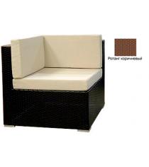 Угловой одноместный модуль с 3 подушками GARDA-1007 R коричневый