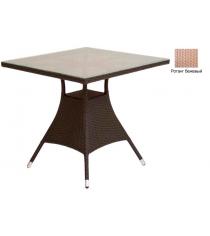 Квадратный обеденный стол со стеклом GARDA-2007 R бежевый