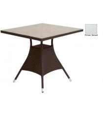 Квадратный обеденный стол со стеклом GARDA-2007 R белый