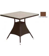 Квадратный обеденный стол со стеклом GARDA-2007 R коричневый