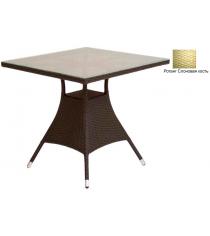 Квадратный обеденный стол со стеклом GARDA-2007 R слоновая кость