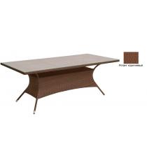 Прямоугольный обеденный стол со стеклом GARDA-2015 R коричневый