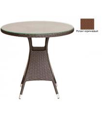Круглый обеденный стол со стеклом GARDA-3006 R коричневый