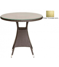 Круглый обеденный стол со стеклом GARDA-3006 R слоновая кость