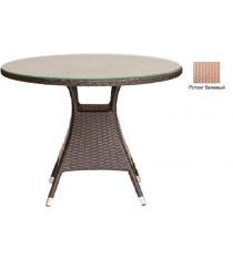 Круглый обеденный стол со стеклом GARDA-3008 R бежевый