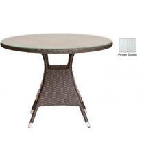 Круглый обеденный стол со стеклом GARDA-3008 R белый
