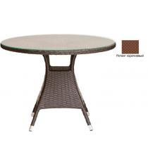 Круглый обеденный стол со стеклом GARDA-3008 R коричневый
