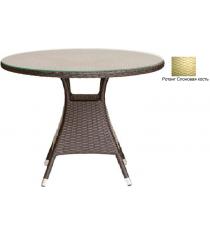 Круглый обеденный стол со стеклом GARDA-3008 R слоновая кость