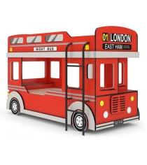 Детская двухъярусная кровать Автобус 1 Красный