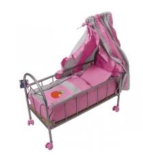 Кроватка для куклы на колесиках розово-серебристая со светящимся логотипом яблочко или пони Gulliver 548-2