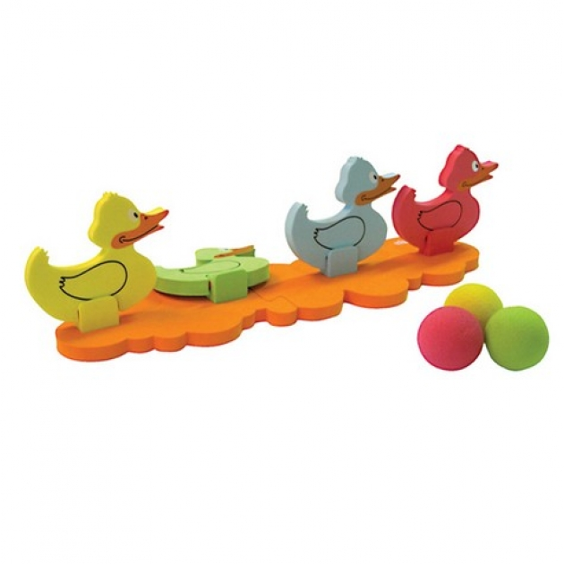 6069 Игра на ловкость Сбей утенка (1основа, 4 утёнка, 4 мяча) Ouaps (Оуапс) (Арт. 64008)