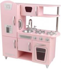 Деревянная кухня винтаж цвет розовый