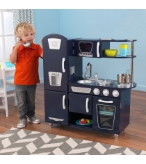 Деревянная кухня винтаж цвет синий