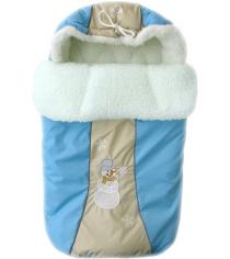 Зимний меховой конверт Little People Снежинка 12002 голубой