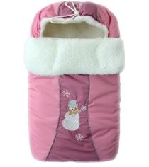 Зимний меховой конверт Little People Снежинка 12002 розовый