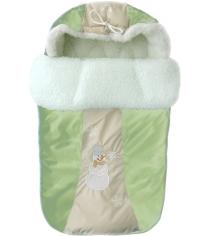 Зимний меховой конверт Little People Снежинка 12002 зеленый