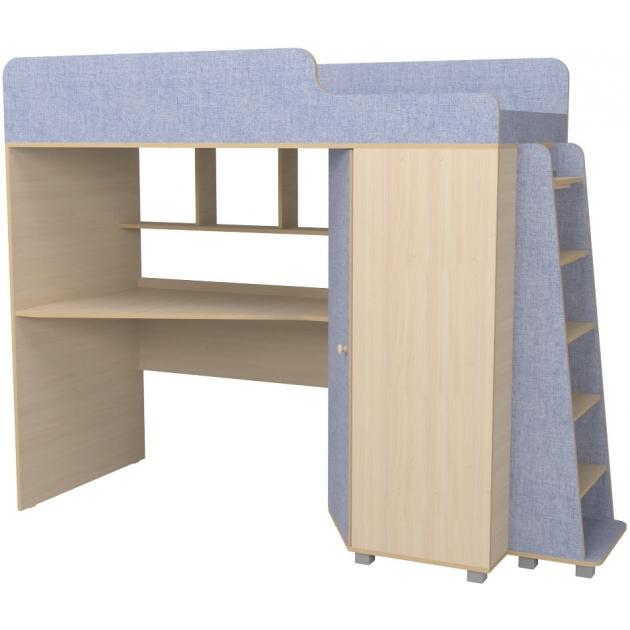 Кровать чердак с рабочей зоной Р440 Капризун 5 лен голубой
