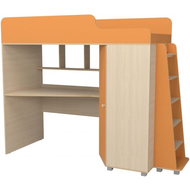 Кровать чердак с рабочей зоной Р440 Капризун 5 оранжевый