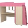 Кровать чердак с рабочей зоной Р440 Капризун 5 розовый...