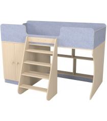 Кровать чердак Р441 Капризун 2 лен голубой со шкафом...