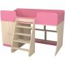 Кровать чердак Р441 Капризун 2 розовый со шкафом...