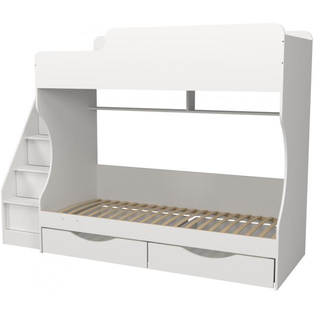 Кровать двухъярусная с ящиками Капризун 6 белая