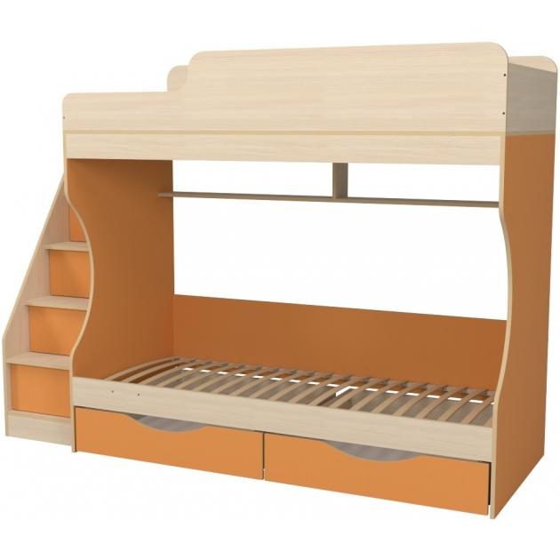 Кровать двухъярусная с ящиками Капризун 6 оранжевый