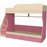 Кровать двухъярусная с ящиками Капризун 6 розовый...