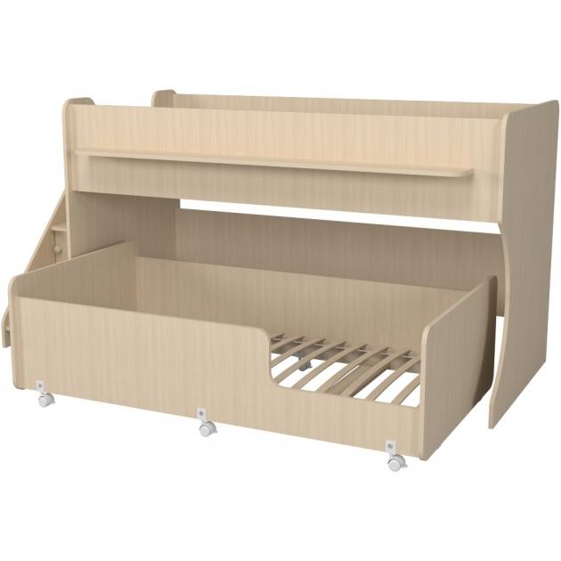 Двухъярусная кровать Р444-2 Капризун 7 с лестницей с ящиками дуб млечный