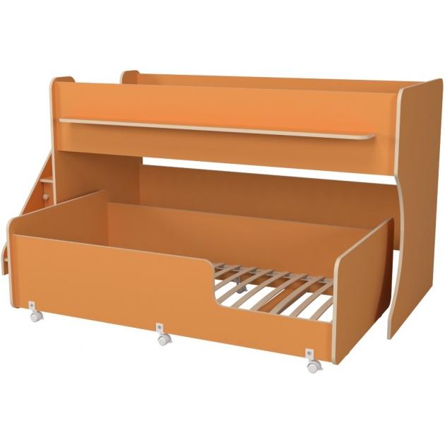 Двухъярусная кровать Р444-2 Капризун 7 с лестницей с ящиками оранжевый