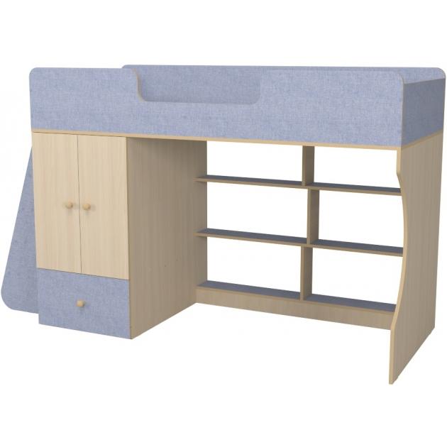 Кровать чердак Р445 Капризун 1 со шкафом лен голубой
