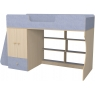 Кровать чердак Р445 Капризун 1 со шкафом лен голубой...