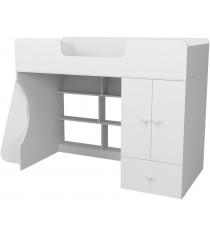 Кровать чердак Капризун 2 со шкафом белый