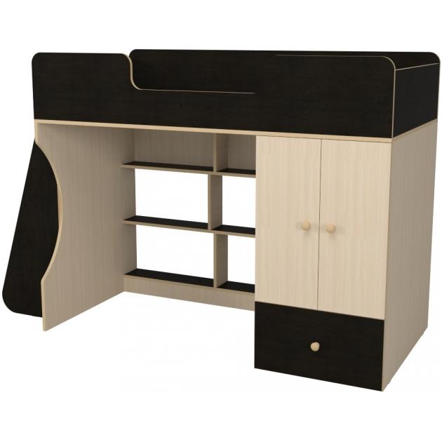 Кровать чердак Капризун 2 со шкафом дуб миланский