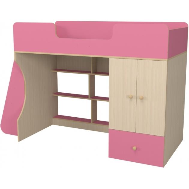 Кровать чердак Капризун 2 со шкафом розовый