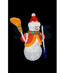 Акриловая фигура Снеговик с лопатой и метлой 160см, 3160 светодиодов, понижающий...
