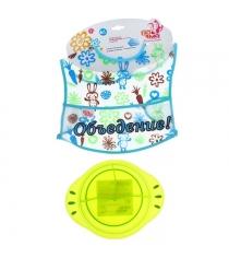 Детская тарелка трёхсекционная 300мл и Клеенчатый слюнявчик Пома