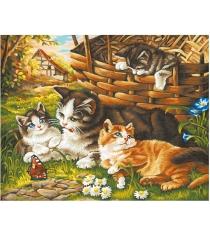 Раскраска по номерам Schipper Семейство кошачьих 9130361