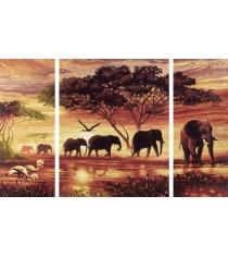 Раскраска по номерам Schipper Триптих Африканские слоны 9260455